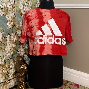 adidas distressed red crop top